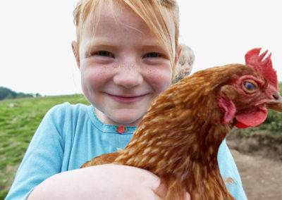 Fangen, auf den Arm nehmen und streicheln. Unsere Hühner lassen sich so einiges von den Kindern gefallen.